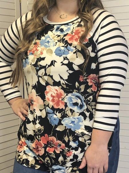 Floral Print Striped Sleeve Baseball Top