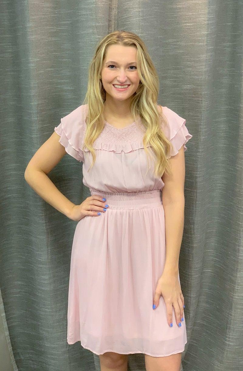 Pink Lace Insert Lace Ruffled Dress