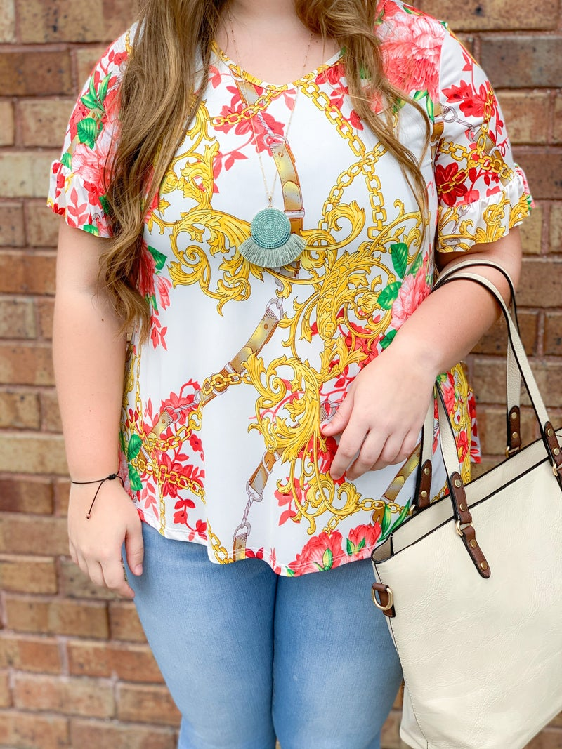 Bright Chain Top with Ruffle Sleeve