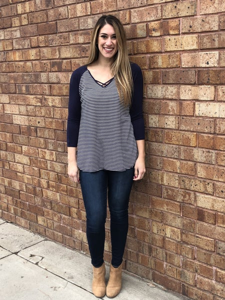 French Terry Striped Tunic with V-neck criss cross