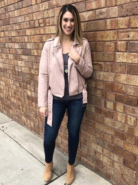 Vegan Leather Belted MOTO jacket