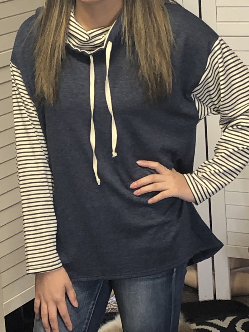 Striped and Solid knit hoodie