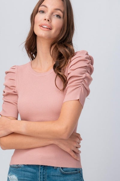 Rib Knit Ruched Puff Sleeve Top