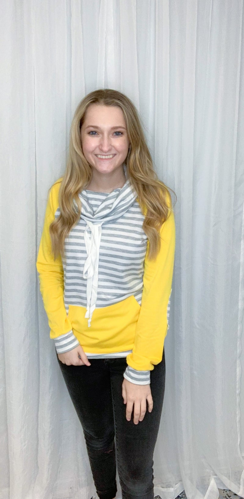 Yellow Sleeve Striped Pullover