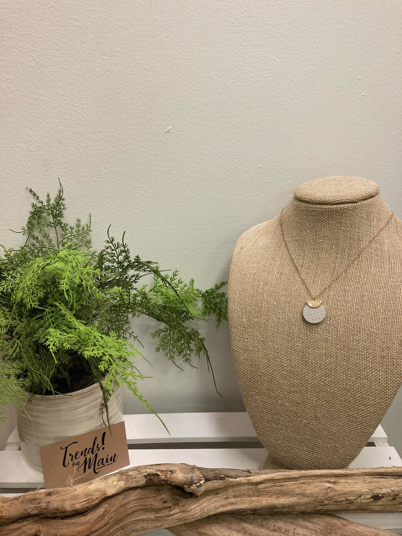 Gray leather necklace