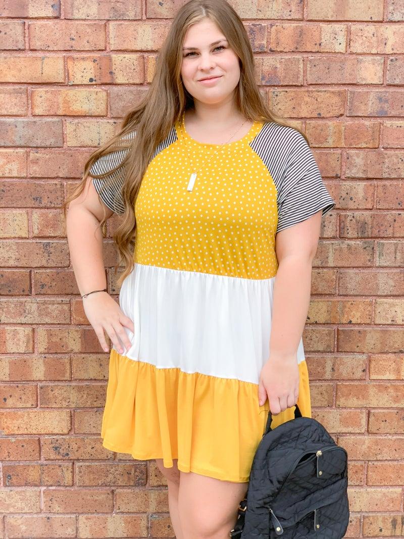 Mustard Tiered Print Dress