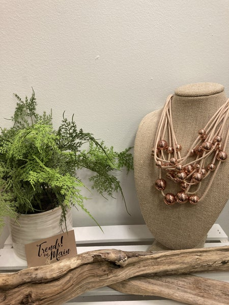 rose gold cluster beaded necklace