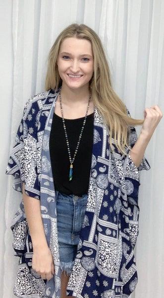 Navy Print Kimono