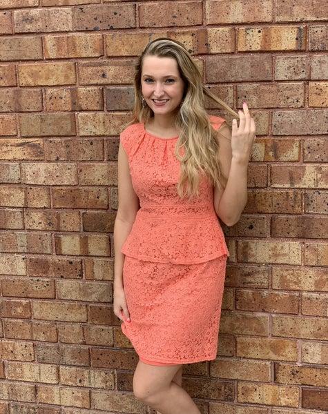 Grapefruit Lace Dress