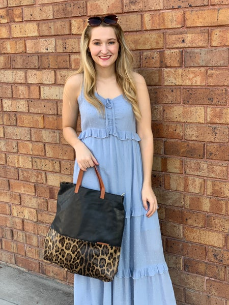 Blue Ruffled Camisole Maxi Dress