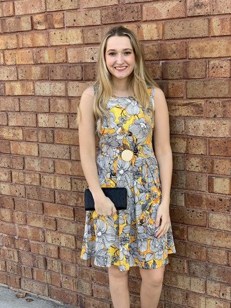 Yellow Floral Sleeveless Swing Dress