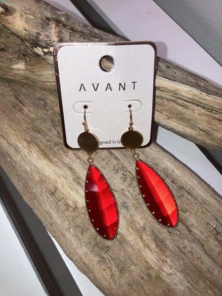 Red tear drop earrings