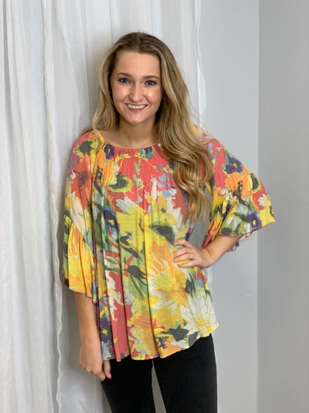 Coral Floral Swing Top w/ Ruffle Sleeves