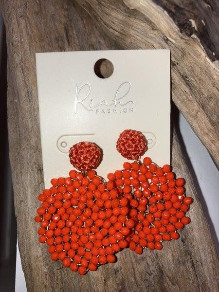 Orange cluster earrings