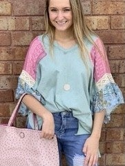 Dusty Mint Patchwork Ruffle Sleeve Top