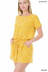 Yellow Floral Romper w/Pockets