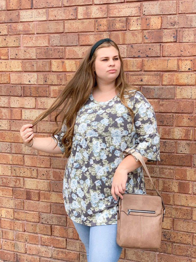 Blue Floral Tunic w/ Bell Sleeves