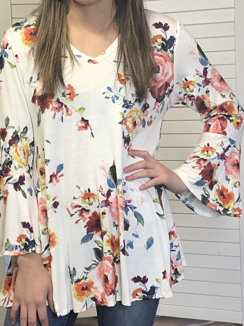 V-neck floral top with bell sleeves