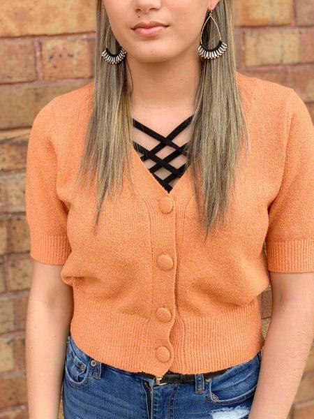 Sherbet Button Cardi Crop Sweater