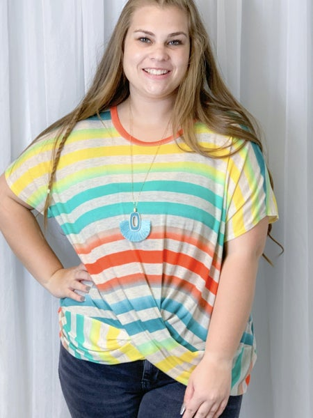 Multi Stripe Top with Twisted Top
