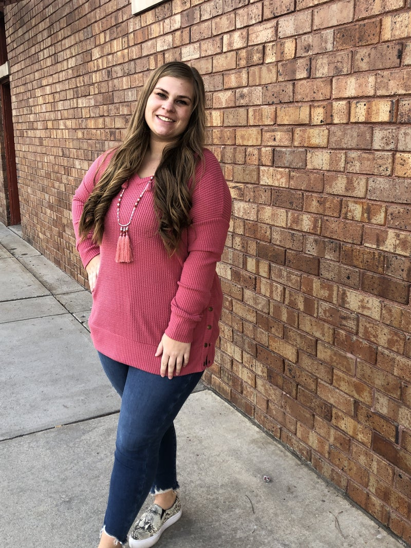 rose pullover with snap sides