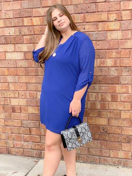Lined Chiffon Dress with Button Sleeves