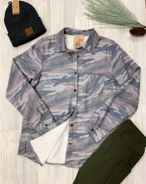 Camo fleece lined long sleeve shirt
