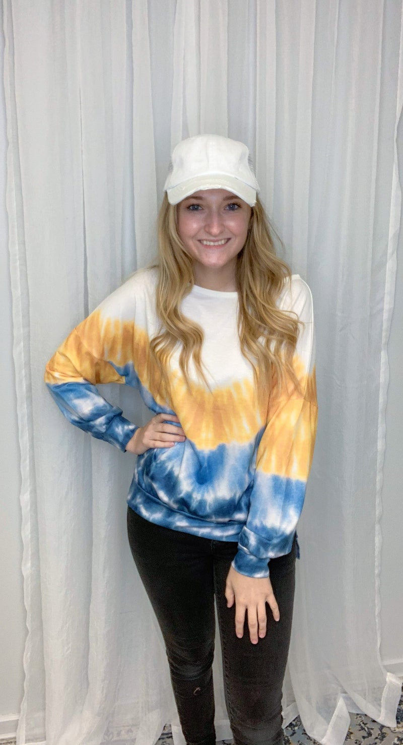 Blue/Yellow Crew Pullover