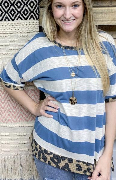 Blue Striped Top w/Leopard