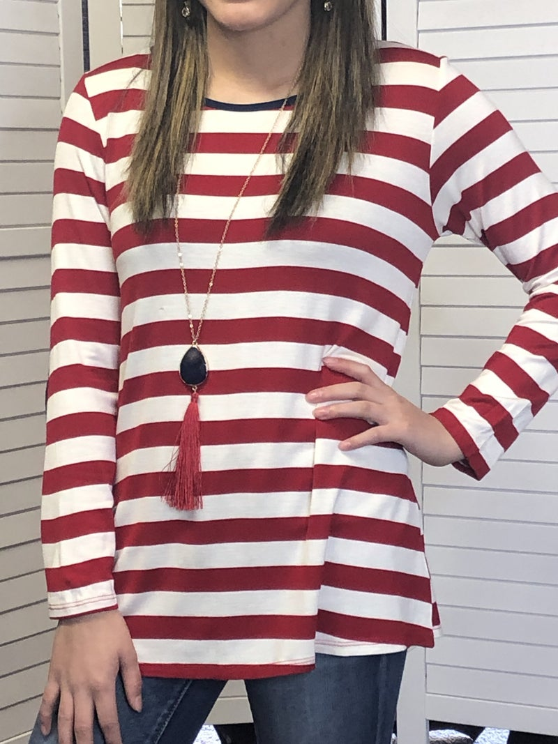 Relaxed fit 3/4 sleeve striped top with elbow patch