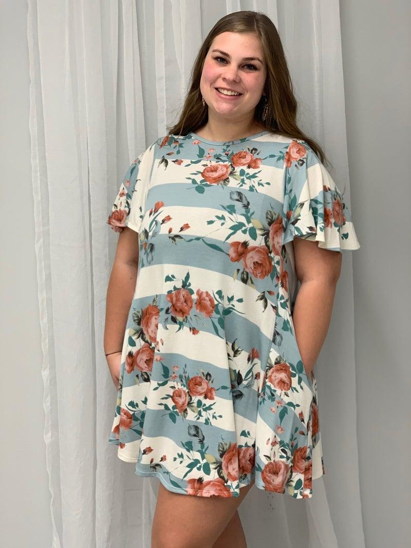 Wide Sleeves Flower Print Dress