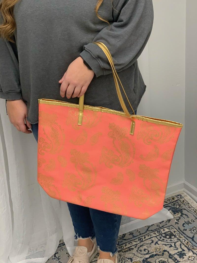 Coral Foil Tote Bag