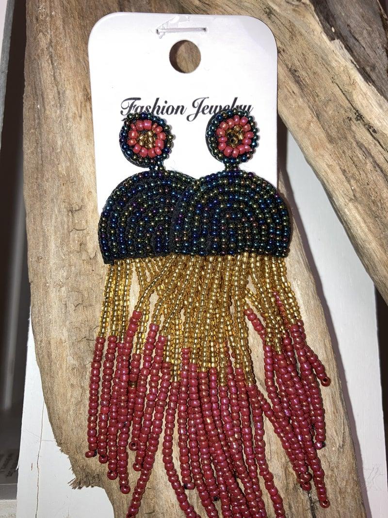 Seedbead dangle earrings
