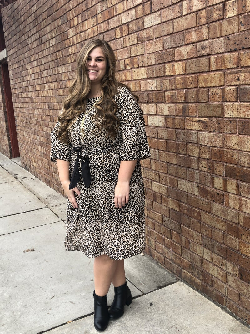 Leopard dolman sleeve dress