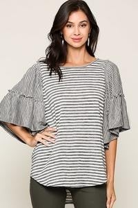 Denim Striped Tunic w/Ruffle Sleeves