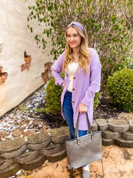 Lavender long cardi sweater