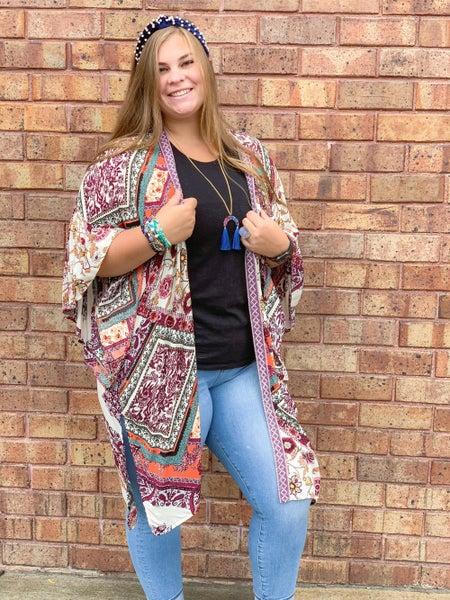 Printed Ruffle Sleeves Kimono with Side Slits