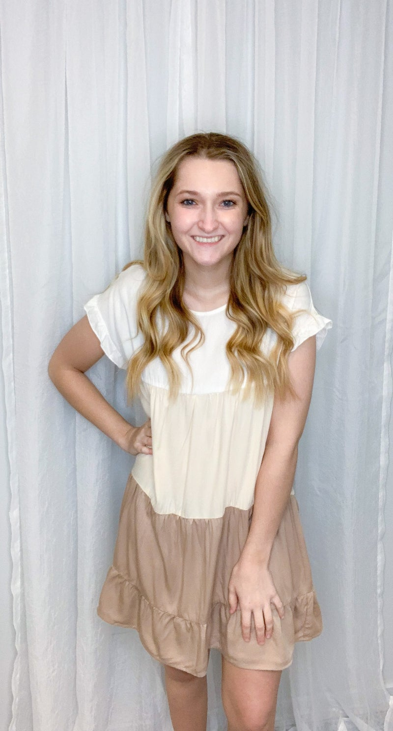 Khaki Color Block Dress