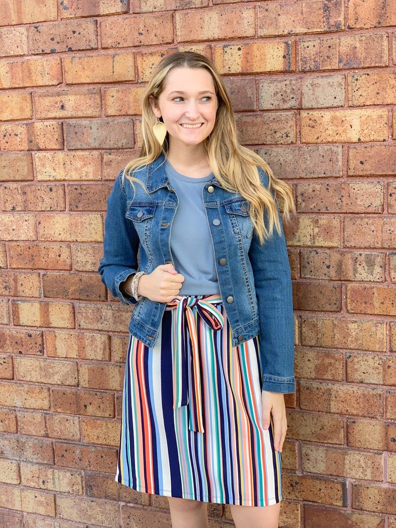 Waist Tie Striped Pencil Skirt