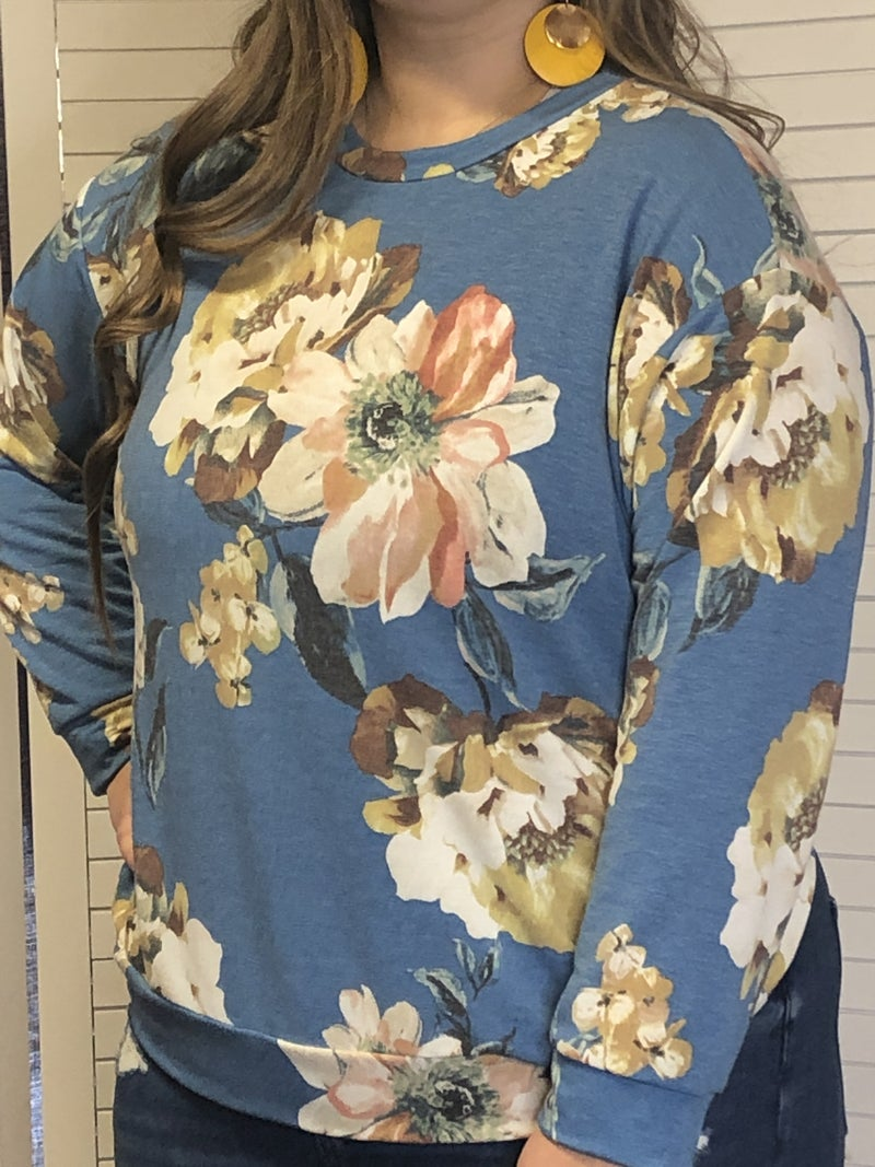 French terry top with puffed sleeve