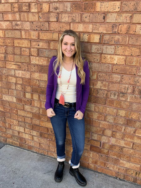 purple snap sweater