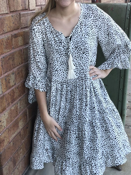 Dot Print Tiered Ruffle Sleeve Dress