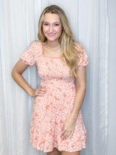 Smocked Floral Print Dress