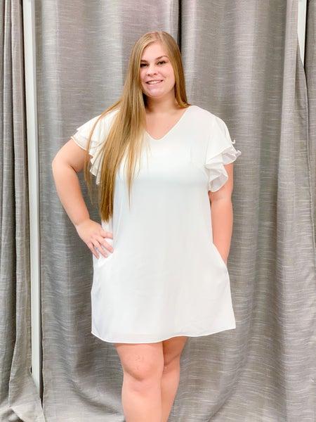White Double Ruffled Sleeve Lined Dress