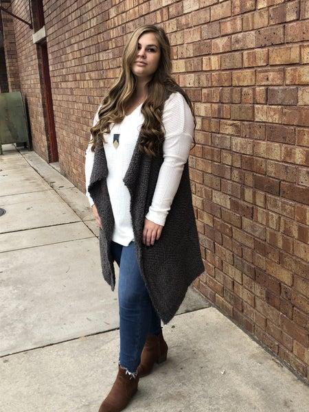 Popcorn knit drape front vest