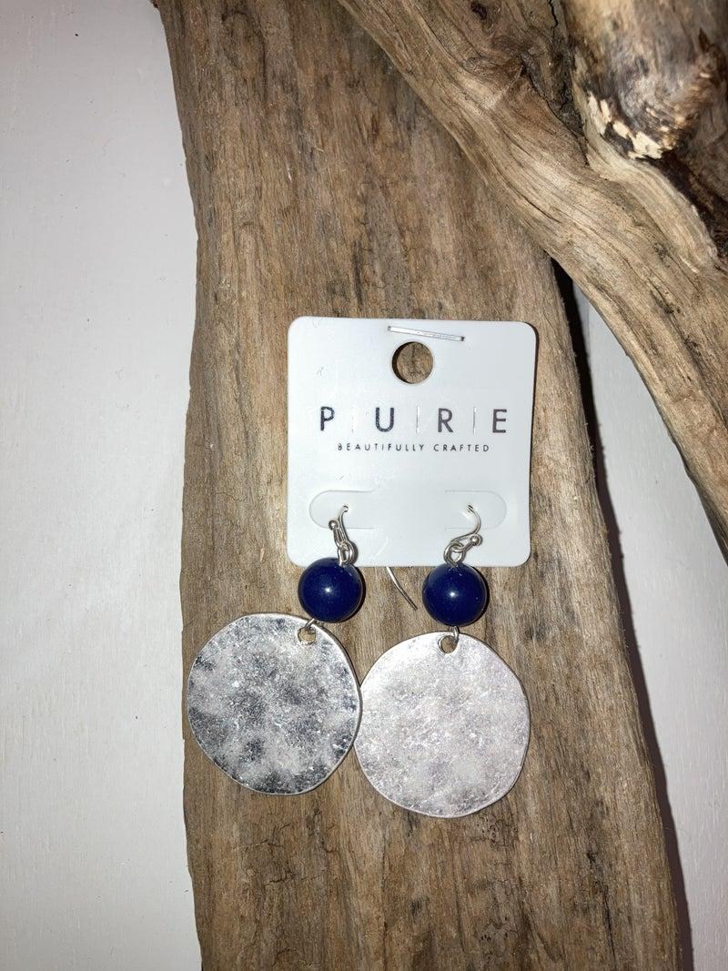 Silver disc earrings w/blue bead