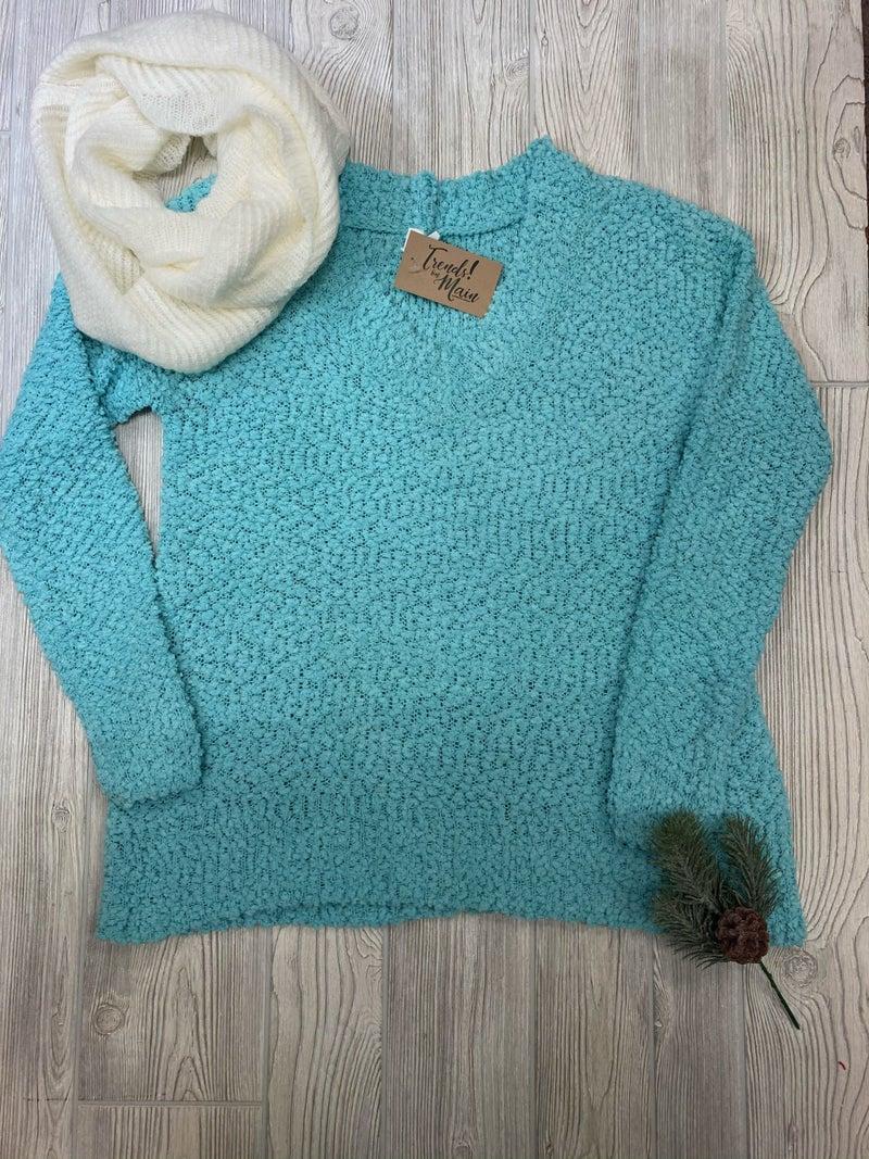 V neck popcorn sweater
