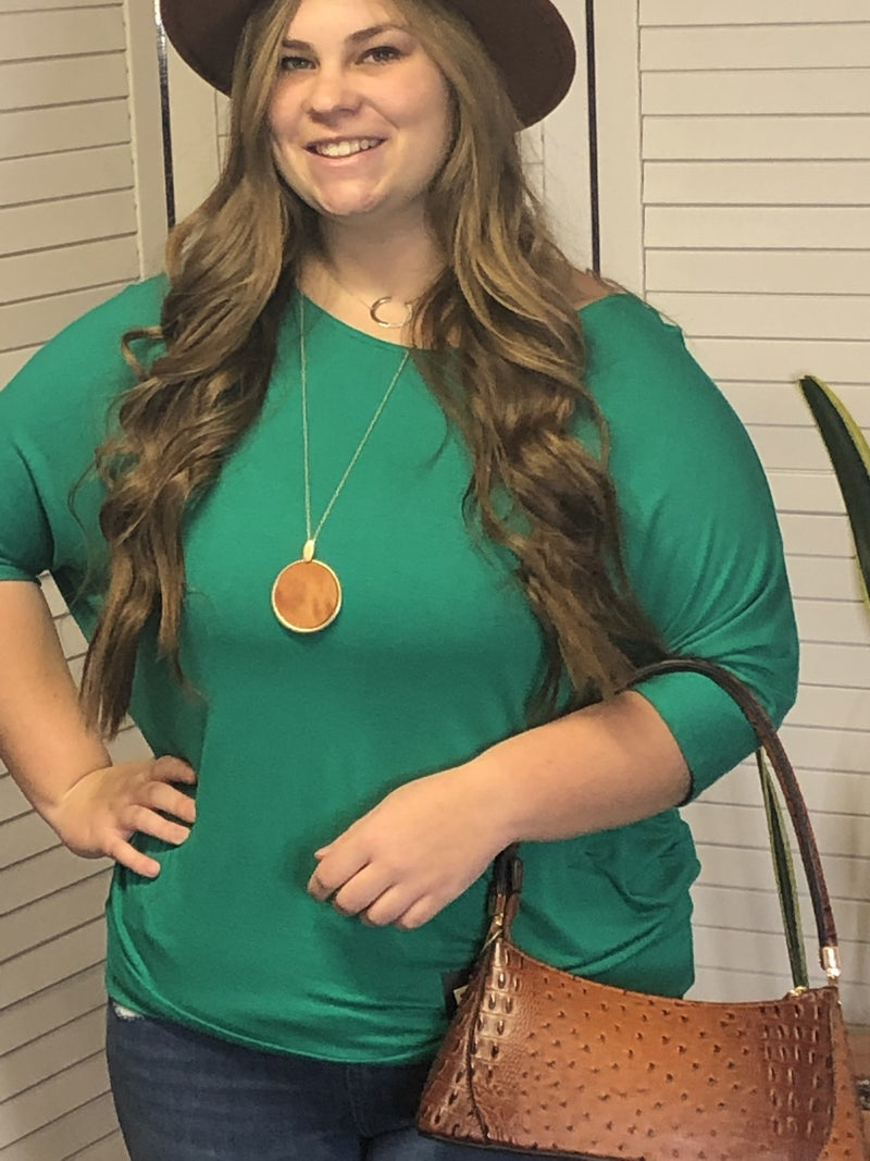 3/4 dolman sleeve solid top w/ fitted waistband