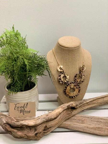 Cheetah gold hammered circular necklace