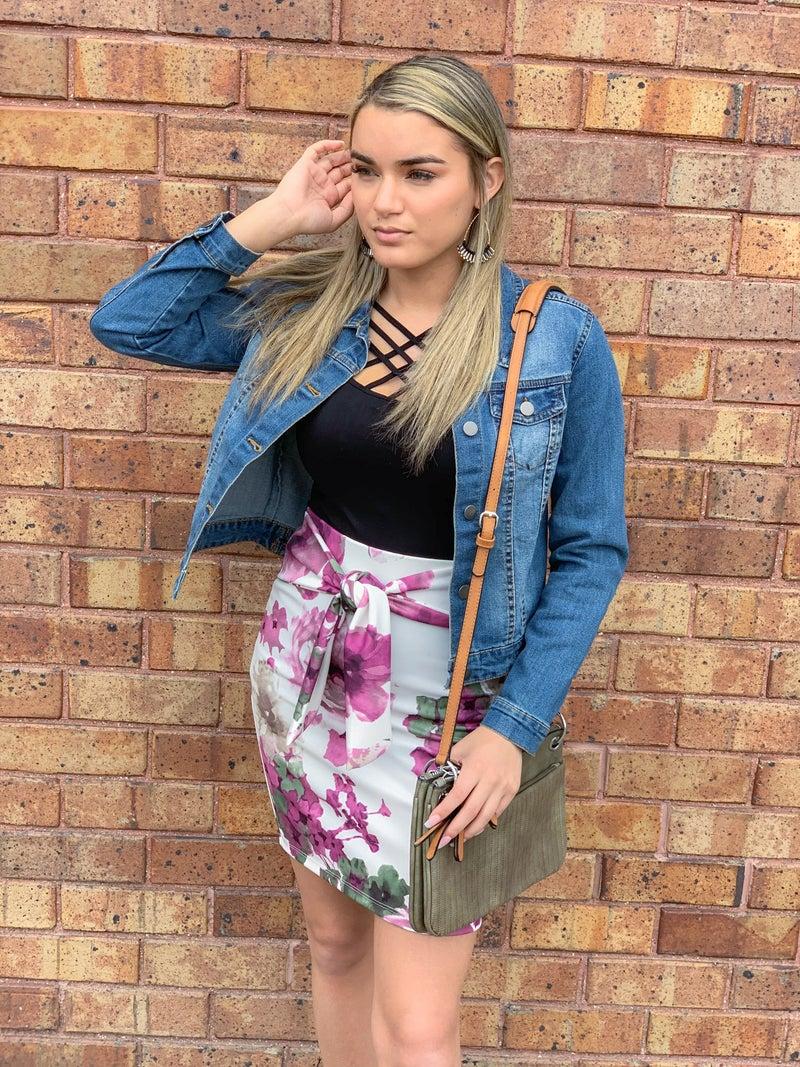Purple Floral Print Tie Skirt